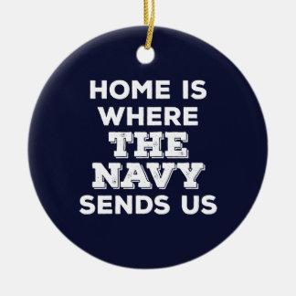 El hogar es adonde la marina de guerra nos envía adorno redondo de cerámica