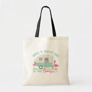 El hogar es adonde usted pone su bolso de los flam bolsa