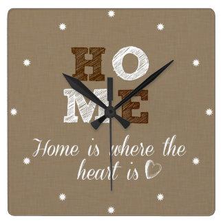 El hogar es donde está cita el corazón reloj cuadrado