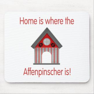 El hogar es donde está el Affenpinscher (el rojo) Alfombrilla De Ratón