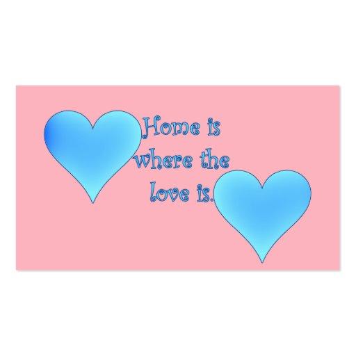 El hogar es donde está el amor tarjetas de visita