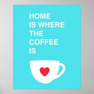 El hogar es donde está el café póster