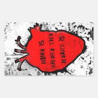 el hogar es donde está el corazón anatómico pegatina rectangular