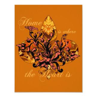 El hogar es donde está el corazón invitación 10,8 x 13,9 cm