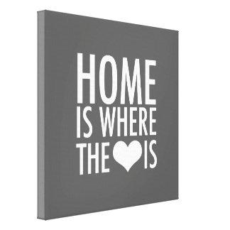 El hogar es donde está el corazón impresiones en lona estiradas