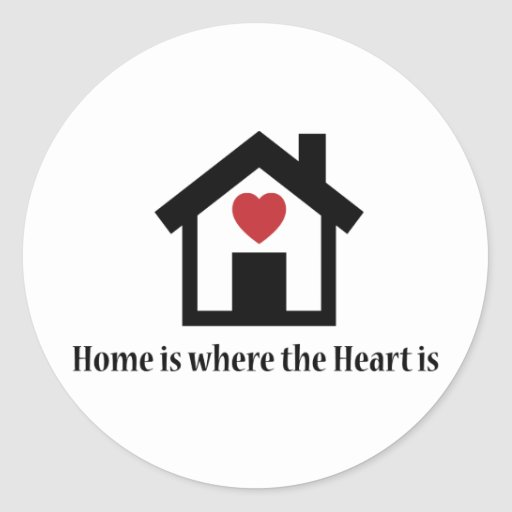 El hogar es donde está el corazón pegatina redonda