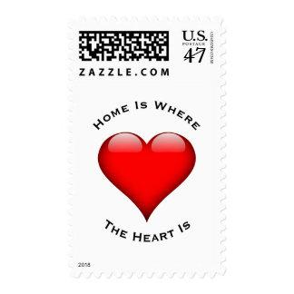El hogar es donde está el corazón sello postal