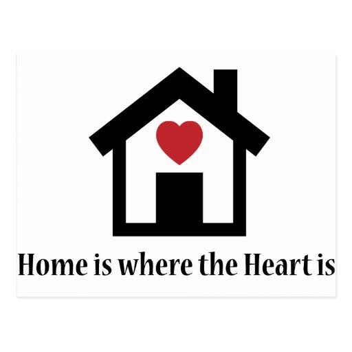 El hogar es donde está el corazón tarjeta postal