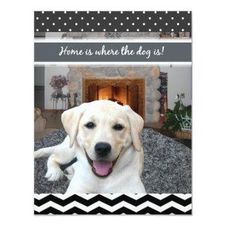 El hogar es donde está el perro invitación 10,8 x 13,9 cm