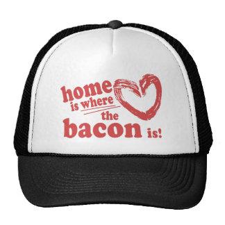 El hogar es donde está el tocino gorros bordados