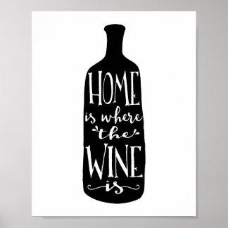 El hogar es donde está impresión el vino del arte póster