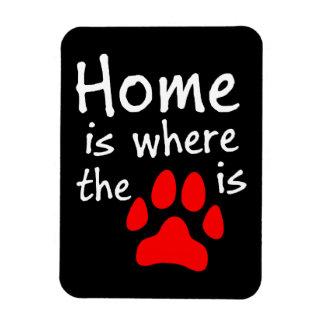 El hogar es donde está la impresión de la pata imanes de vinilo
