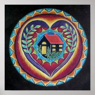 El hogar es donde está mandala el corazón posters