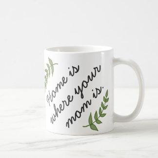 El hogar es donde está regalo su mamá del día de taza básica blanca