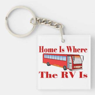 El hogar es donde está rv llavero cuadrado acrílico a doble cara