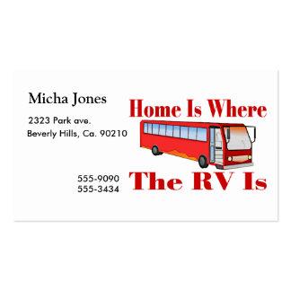El hogar es donde está rv tarjetas de visita