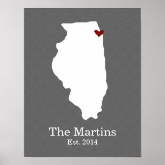 El hogar es donde está su corazón - Illinois Póster