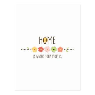 El hogar es donde está su mamá postales