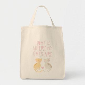 El hogar es donde están mis gatos bolsa tela para la compra