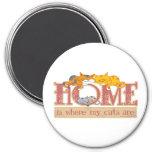 El hogar es donde están mis gatos imán para frigorífico