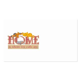 El hogar es donde están mis gatos plantillas de tarjeta de negocio