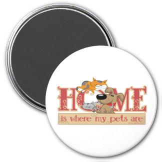 El hogar es donde están mis mascotas imán redondo 7 cm
