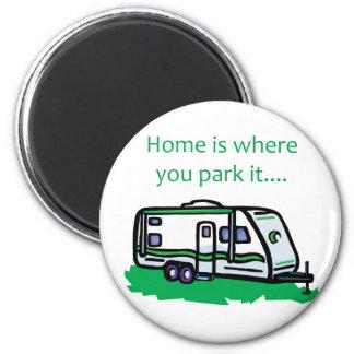 El hogar es donde usted lo parquea iman de frigorífico