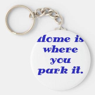 El hogar es donde usted lo parquea llaveros personalizados