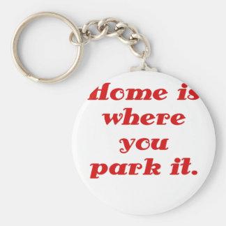El hogar es donde usted lo parquea llavero personalizado