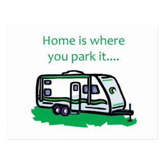 El hogar es donde usted lo parquea postal