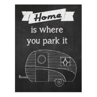 El hogar es donde usted lo parquea tarjetas postales