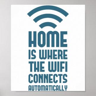 El hogar es donde WIFI conecta automáticamente Poster
