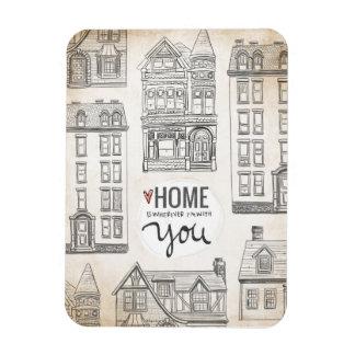 El hogar es dondequiera que esté con usted imanes de vinilo
