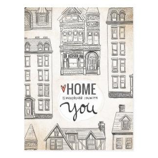 El hogar es dondequiera que esté con usted postal