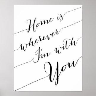 El hogar es dondequiera que sea con usted póster