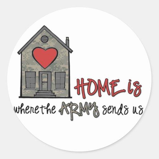 El hogar es pegatina redonda