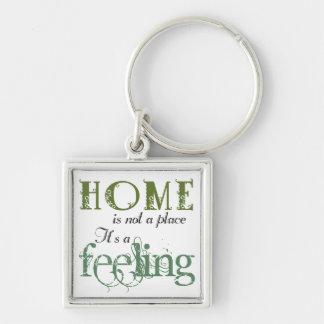 El hogar es un llavero de la frase de la sensación