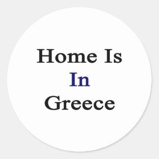 El hogar está en Grecia Pegatina Redonda
