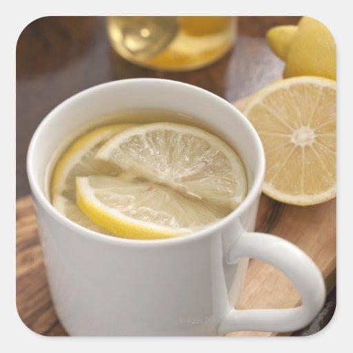 el hogar hizo el remedio del frío y de la gripe; pegatina cuadrada