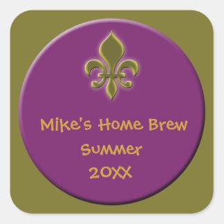 El hogar hizo etiquetas de la cerveza o del vino pegatina cuadrada