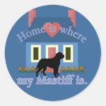 El hogar inglés del mastín es etiqueta redonda