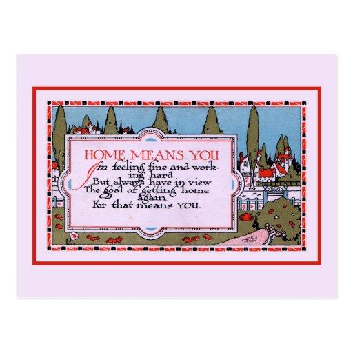 El hogar romántico del vintage le significa que di tarjetas postales