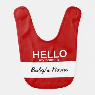 El hola retro mi nombre es babero del bebé de la e