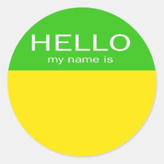 El hola único mi nombre es - cal del limón pegatina redonda