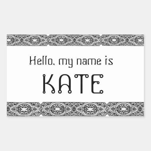 El hola único mi nombre es - pegatinas de las etiq rectangular altavoz