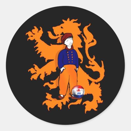El holandés tradicional holandés estorba el pegatinas redondas