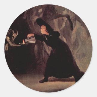 El hombre Bewitched de Francisco Goya 1798 Pegatina Redonda