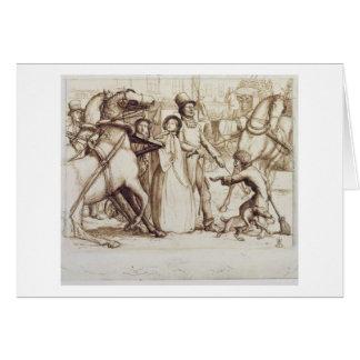 El hombre ciego, 1853 (pluma, tinta, lavado y graf tarjeta de felicitación
