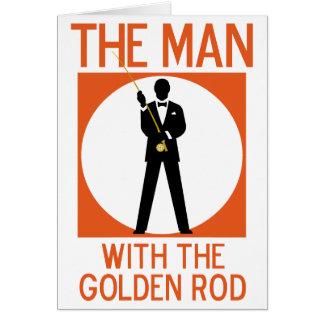 El hombre con el Rod de oro Tarjetón