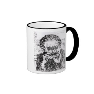 El hombre con el tubo tazas de café
